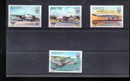 JERSEY 324/327** SUR L HISTOIRE DE L AVIATION - Jersey