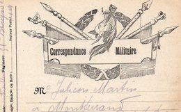 """CP- """"  Correspondance Militaire  """"- 6 Drapeaux - - Storia Postale"""