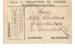 B19  1918 Prisonnier De Guerre Allemand Détenu A Barcelonette Censures ( N°3) +marques - Marcophilie (Lettres)