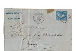 B19  1885 Lettre Marseille Pour Lyon  Ambulant - Storia Postale