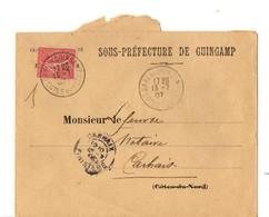 B19  1907 Lettre Entete Mairie De Guingamp Pour Carhaix - Storia Postale