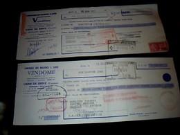Vieux Papier Lettre De Change X2 Différentes Compagnies Des Machines à Laver Vendôme Usine De Brives 1960 - Bills Of Exchange