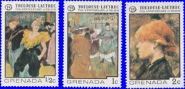 Grenade 1976. ~ YT 680/82** - Toulouse-Lautrec - Grenada (1974-...)