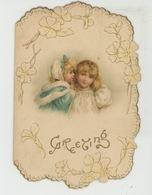 """ENFANTS - Jolie Carte Fantaisie Gaufrée Fillettes """"A Christmas Wish And Happy New Year """" écrite En 1898 - Andere"""