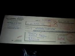 Vieux Papier Lettre De Change La Lampe OSRAM Paris Rue Mayras 1960 - Lettres De Change