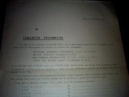 Vieux Papier Collecte De Vêtements JAC & JACF Union Des Jeunes Filles Patriote Jeunes Ppaysans Patriotes 1945 Niort - Menükarten