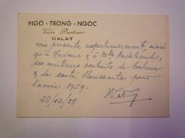 2020 -  5811  CARTE De VISITE De NGO-TRONG-NGOC  Institut PASTEUR  DALAT  (Vietnam)  1958   XXX - Visiting Cards