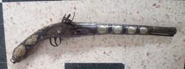 PISTOLET LONG DE COLLECTION ANCIEN BOIS ET METAL - Armas De Colección