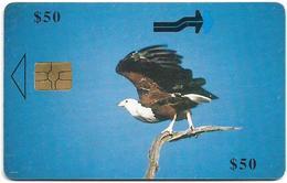 Zimbabwe - PTC - Fish Eagle In Flight - 50Z$, Chip Gem5 Red, Exp. 12.2001, Used - Zimbabwe
