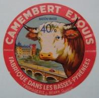 Etiquette Camembert - L'Exquis De Pau - Fromagerie Anonyme Du Béarn à Oloron 64 - Pyrénées-Atlantiques   A Voir ! - Fromage