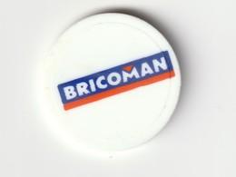 JETON DE CADDIES : Magasin BRICOMAN( Plastique Blanc ) - Trolley Token/Shopping Trolley Chip