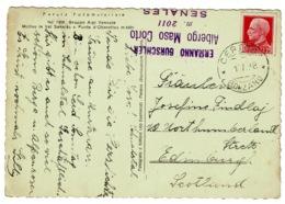 Ref 1367 - 1938 Italy Postcard - Certosa Bolzano To Edinburgh - Hotel Cachet - 1944-45 République Sociale
