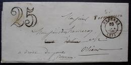 Cursive De Terminiers 1850 (Eure Et Loir) Sur Lettre D'Orgères Sans Timbre, Taxée 25, Pour Orléans - 1849-1876: Periodo Classico