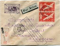 """REUNION LETTRE RECOMMANDEE PAR AVION AVEC CACHET """" 100eme LIAISON......REUNION - MADAGASCAR """" DEPART SAINT DENIS 31-3-47 - Réunion (1852-1975)"""