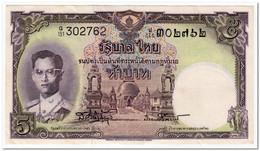 THAILAND,5 BAHT,1956,P.75d,VF+ - Tailandia