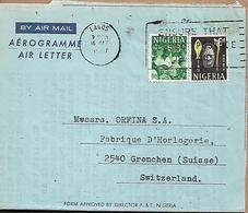 NIGERIA 1967 AEROGRAMME Send To Grenchen 2 Stamps AEROGRAMME USED - Tansania (1964-...)