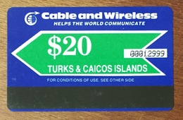 TURKS & CAICOS ISLANDS CARTE TÉLÉPHONIQUE PISTE MAGNÉTIQUE 20$  PRÉPAYÉE PREPAID PHONECARD PAS TÉLÉCARTE - Turks- En Caicoseilanden