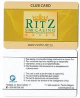 Ritz Star Casino, Plovdiv, Bulgaria, Used Club Card, # Ritz-1 - Casino Cards