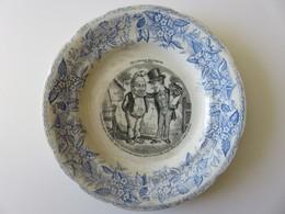 637 - Assiette Parlante Porcelaine Opaque De Gien - Langage Des Fleurs - Pensée - Gien (FRA)