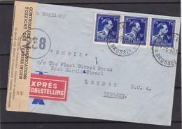 N° 692 / Lettre En EXPRES De BXL Vers Angleterre Bande De Contrôle Lsc - 1934-1935 Léopold III