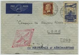 1er Voyage Aéromaritime Et Air France , France - Côte Occidentale D'Afrique 26 Février 1937 . Nogent Pour Lomé (Togo) - Poste Aérienne