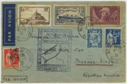 France - Amérique Du Sud Inauguration Service Transatlantique Hebdomadaire 100% Aérien 03/01/1936 Nogent - Buenos Aires - Erst- U. Sonderflugbriefe