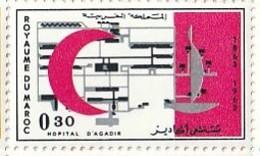 Maroc. Timbre Yvert Et Tellier N° 467. 1963. Centenaire De La Croix-Rouge Internationale. Hôpital D'Agadir. - Enfermedades