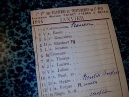 Vieux Papier Agenda Calendrier De 1914 Pub S.A  Des Teinturerie Et Filatures De St Épin  ( BA LAGNY Sur Thérain ) - Calendars