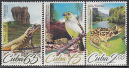 Cuba 2019   Faune Set Of 3 Amphibian  Bird  Frog - Cuba