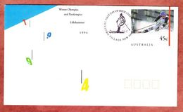 FDC, Ganzsachenumschlag, Winter Olympics And Paralympics Lillehammer 1994, Thredbo Village (94579) - Interi Postali