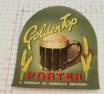 ETIQUETTE  BREWERY GOLDEN TOP PORTER - Bière