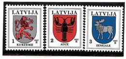 Latvia 2007 . COA '06 Of Kurzeme, Auce, Zemgale. 3v: 1,2,3  Michel # 371-72 D VIII , 421 D IX - Lettonie