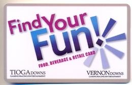 Tioga Downs & Vernon Downs Casinos, Nichols, NY, U.S.A., Used Magnetic GIFT Card # Gctiogad-2  NOT A KEY CARD - Chiavi Elettroniche Di Alberghi