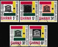 GHANA 1966 SG 435-40 Compl.set+m/s Used 20th Anniv UNESCO - Ghana (1957-...)