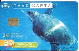 CARTE-PUCE-GRECE-05/03--3€-Gem6-TORTUE MARINE-UTILISE-TBE - Schildpadden