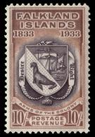 "MH ) FALKLAND ISLANDS 1933 | ""Centenary Of British Administration"". 10s. Black And Chestnut ""Coat Of Arm - Islas Malvinas"