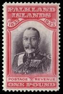 "MH ) FALKLAND ISLANDS 1933 | ""Centenary Of British Administration"". £1 Black And Carmine ""King George V"" - Islas Malvinas"