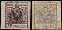 MH ) LOMBARDO-VENETO 1850/1854 | 10c. Nero Carbone, Carta A Mano Con Evidente Decalco Completo | Proveni - Lombardo-Vénétie