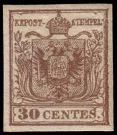 MH ) LOMBARDO-VENETO 1854/1857 | 30c. Bruno Scuro II Tipo, Carta A Mano Con Frammenti Di Filigrana | Pro - Lombardo-Vénétie