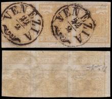 Used ) LOMBARDO-VENETO 1851 | 5c. Giallo Ocra, Striscia Orizzontale Di Tre Con Stampa Recto-verso Capovolt - Lombardo-Vénétie