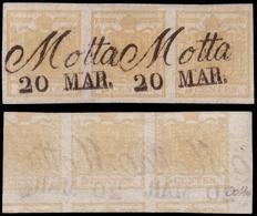 Used ) LOMBARDO-VENETO 1851 | 5c. Giallo Ocra, Striscia Orizzontale Di 3 Con Stampa Recto-verso Diritta | - Lombardo-Vénétie