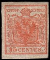 MH ) LOMBARDO-VENETO 1854/1857 | 15c. Rosso Vermiglio I Tipo, Carta A Coste Verticali | Provenienza | Co - Lombardo-Vénétie