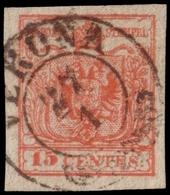 Used ) LOMBARDO-VENETO 1852 | 15c. Rosso II Tipo, Carta Vergata Verticalmente, Usato A Verona | Provenienz - Lombardo-Vénétie