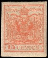 MH ) LOMBARDO-VENETO 1854/1857 | 15c. Rosso Vermiglio III Tipo, Carta A Macchina | Provenienza | Collezi - Lombardo-Vénétie