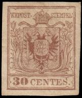 MH ) LOMBARDO-VENETO 1854/1857 | 30c. Bruno Rossiccio II Tipo, Carta A Macchina | Provenienza | Collezio - Lombardo-Vénétie