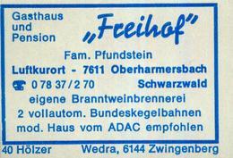 """1 Altes Gasthausetikett, Gasthaus Und Pension """"Freihof"""", Fam. Pfundstein, 7611 Oberharmersbach, Schwarzwald #853 - Matchbox Labels"""