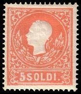 MNH ) LOMBARDO-VENETO 1858 | 5s. Rosso, I Tipo | Notevole Centratura E Freschezza | Provenienza | Collezi - Lombardo-Vénétie