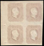 MH ) LOMBARDO-VENETO 1861 | Giornali. (1,05s.) Grigio Rosa | Quartina Con Punto Di Registro Sul Margine - Lombardo-Vénétie