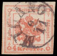 Used ) LOMBARDO-VENETO 1858 (6 Nov.) | Segnatasse Giornali. 4kr. Rosso Smorto, I Tipo | Raro Esemplare Usa - Lombardo-Vénétie