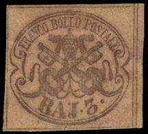 MH ) STATO PONTIFICIO 1854   3b. Bruno Grigiastro Chiaro (Sass. 4a) Con Stampa Grigia Oleosa   Provenien - Papal States